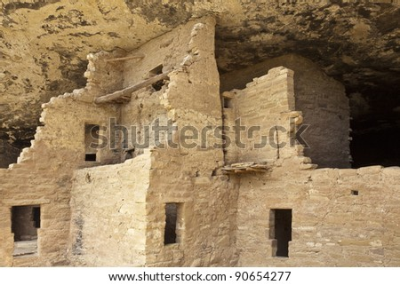 Native american cliff dwelling, Spruce Tree House, Mesa Verde National Park - stock photo