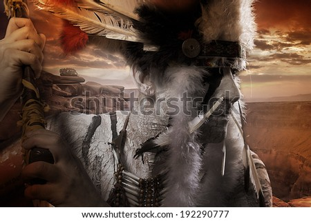 Native american indian chiet at sunset - stock photo
