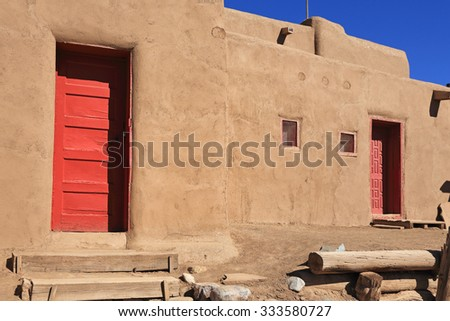 Native American pueblo dwellings in Taos, New Mexico - stock photo