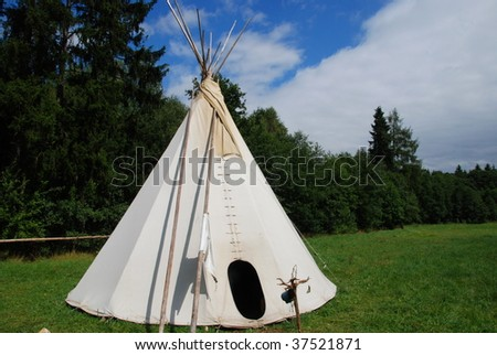 Native American sheleter - teepee - stock photo