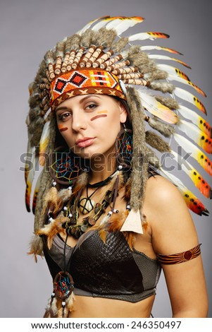 Native American woman - Indian posing in a studio - stock photo