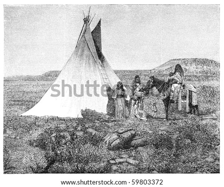 "Native americans from Utah region. Illustration originally published in Hesse-Wartegg's ""Nord Amerika"", swedish edition published in 1880. - stock photo"