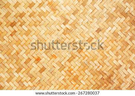 Native Thai style bamboo wall background, natural wickerwork - stock photo