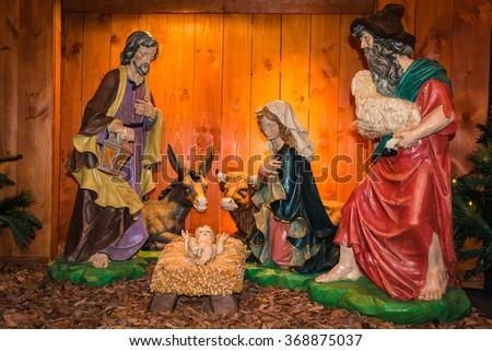 Nativity creche - stock photo