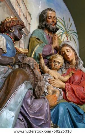 Nativity Scene, Adoration of the Magi - stock photo