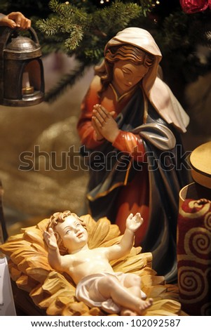 Nativity scene from Vienna shop - stock photo