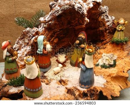 Nativity scene with Holy family of nazareth - stock photo