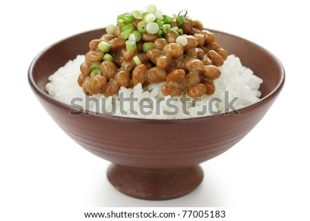 natto(fermented soy beans) on rice , japanese food - stock photo