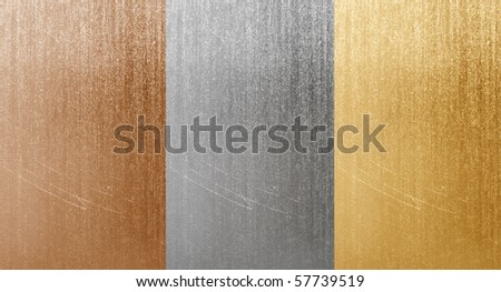 Natural aluminum bronze and brass scratched textures - stock photo