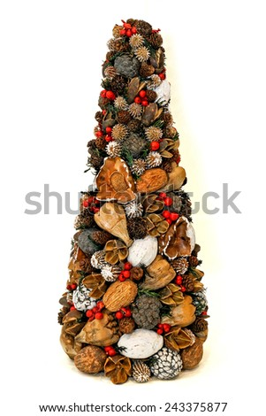 Natural and organic Christmas decoration cone shape  - stock photo