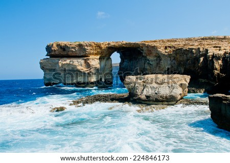 Natural arch - Mediterranean sea, Malta - Azure window - stock photo