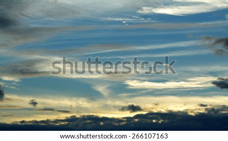 Natural background of the colorful panorama sky, During the time sunrise and sunset - stock photo