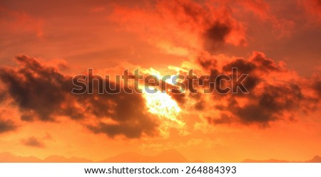 Natural background of the colorful panoramic sky, During the time sunrise and sunset - stock photo