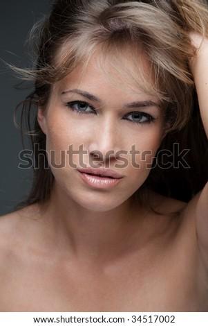 natural beautiful blond woman portrait - stock photo