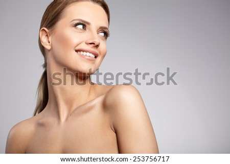 Natural Beauty Portrait. Beautiful Spa Woman . Perfect Fresh Skin.  - stock photo