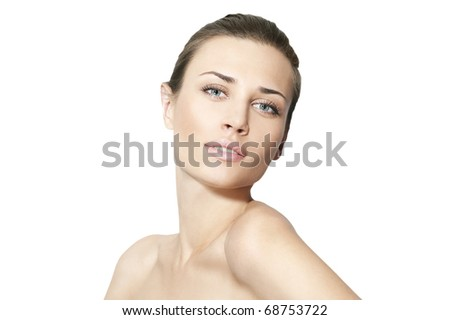Natural beauty women in white background - stock photo