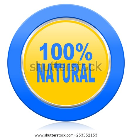 natural blue yellow icon 100 percent natural sign  - stock photo