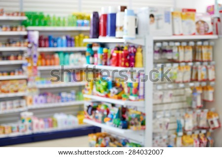 Natural bokeh out of focus pharmacy - stock photo