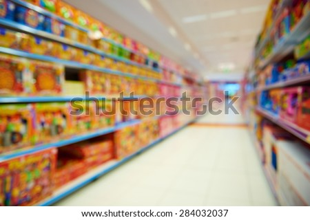 Natural bokeh shopping mall Toy Store - stock photo