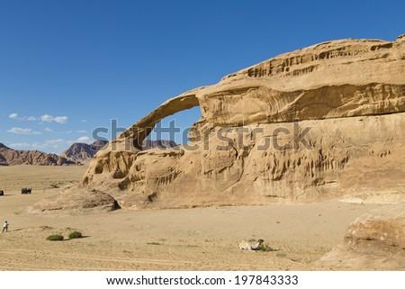 Natural bridge in Wadi Rum,Jordan - stock photo