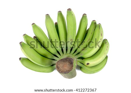 Natural bunch of green raw bananas isolated on white background - stock photo