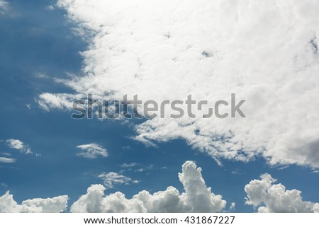 Natural cloudscape background.  Scenic view of cloudy sky on sunny day - stock photo