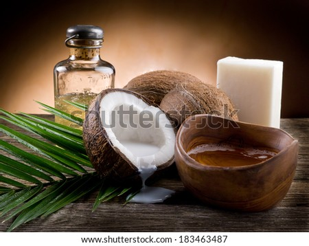 natural coconut walnut oil - stock photo