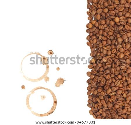 natural coffee  grain,prints on coffee - stock photo