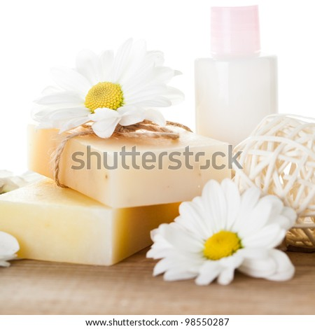 Natural cosmetics concept: soap and hand cream for hands - stock photo