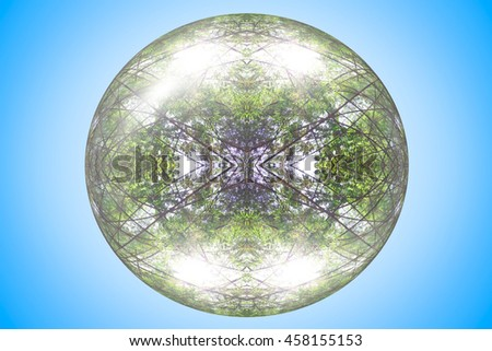 natural crystal globe in the blue background. - stock photo