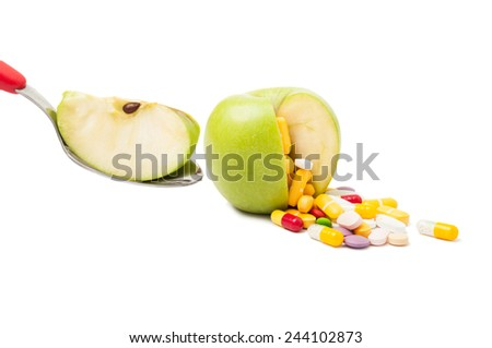 Natural diet pills concept isolated on white background - stock photo