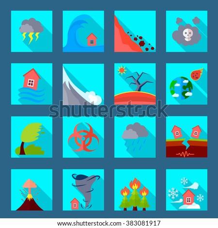 Natural disaster flat icons set - stock photo