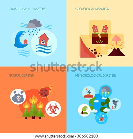 Natural disaster 4 flat icons square - stock photo