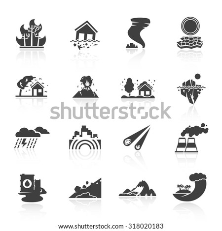 Natural disaster icons black set with tsunami snow storm thunder isolated  illustration - stock photo
