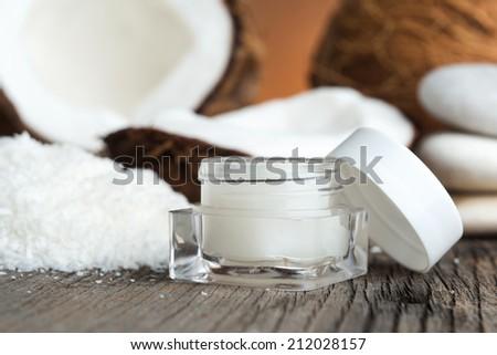 Natural face cream of coconut - stock photo