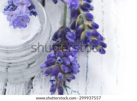 natural facial cream with lavender - stock photo