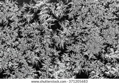 natural frost texture on window glass in cold winter - stock photo