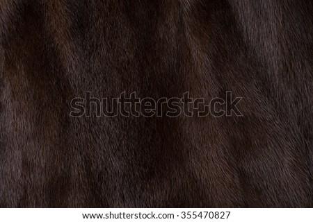 Natural fur mink brown. Close-up, texture - stock photo