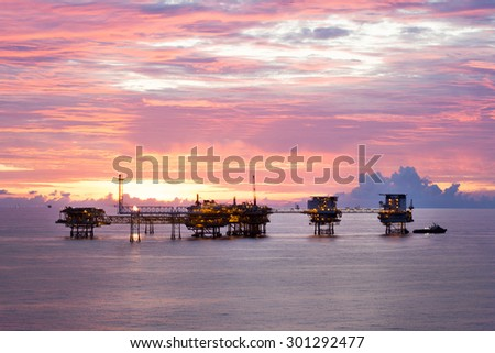Natural gas field in the Gulf of Thailand - stock photo