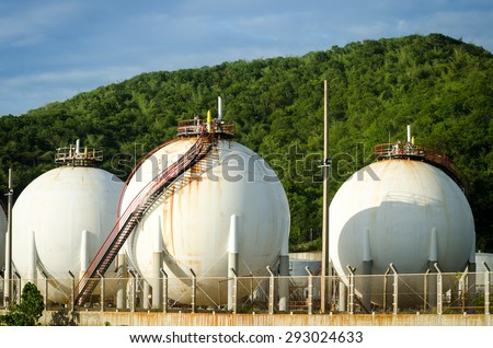 Natural gas tanks, LPG - stock photo