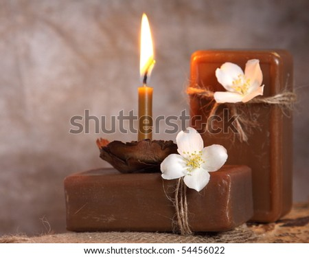 Natural handmade soap and candle. Spa - stock photo