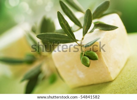 Natural Handmade Soap and Olives.Very Sallow DOF - stock photo