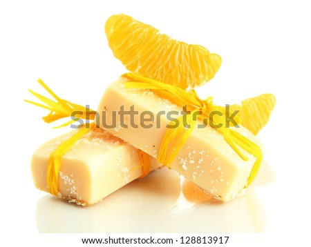 Natural handmade soap and orange, isolated on white - stock photo