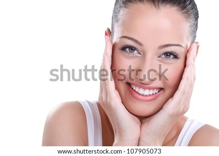 Natural health & beauty. Close-up of sensual woman model with clean face on white background .Spa, wellness, skin care. - stock photo