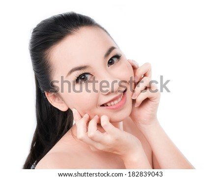 Natural health beauty of a woman face on white  - stock photo