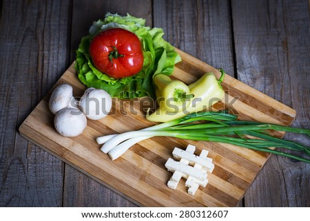 Natural healthy salad ingredients - stock photo