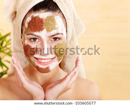 Natural homemade clay  facial mask. - stock photo