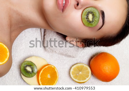 Natural homemade fruit facial masks. Fresh fruit - stock photo