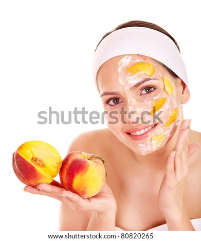 Natural homemade fruit  facial masks . Isolated. - stock photo