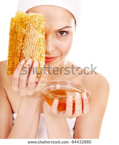 Natural homemade organic  facial masks of honey. Isolated. - stock photo